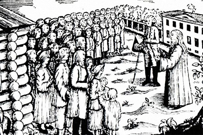 Священник уговаривает крестьян повиноваться пом...