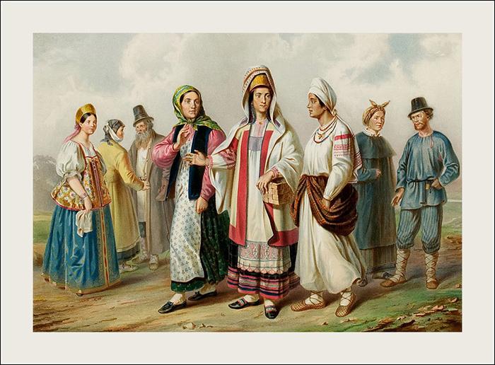 Великороссияне разных губерний. Слева направо: ...