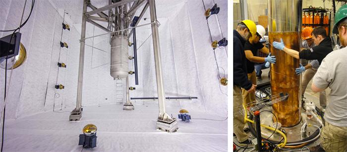 Установки экспериментов LUX (слева) иADMX...