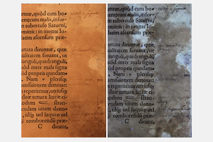 Текст справа приосвещении ультрафиолетом