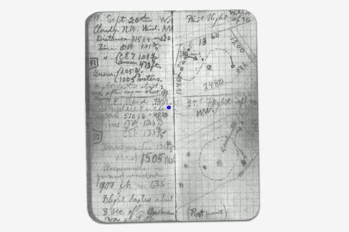 Дневник Уилбура Райта, 1904год. Wikimedia...