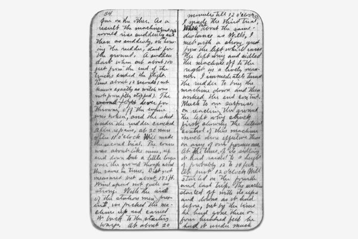 Дневник Орвилла Райта, 1903год. Wikimedia...