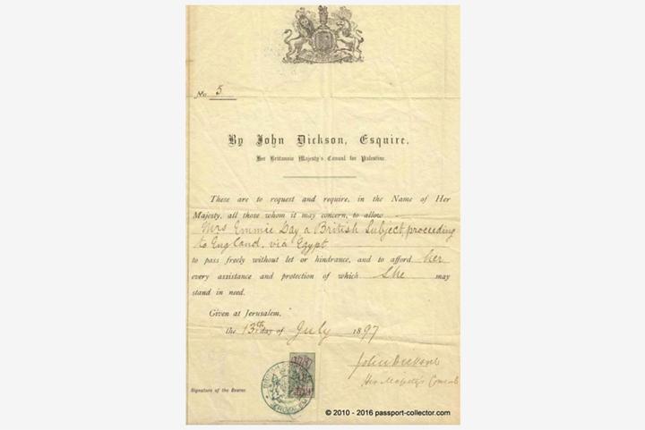 Паспорт, выданный консулу Британии вИерус...