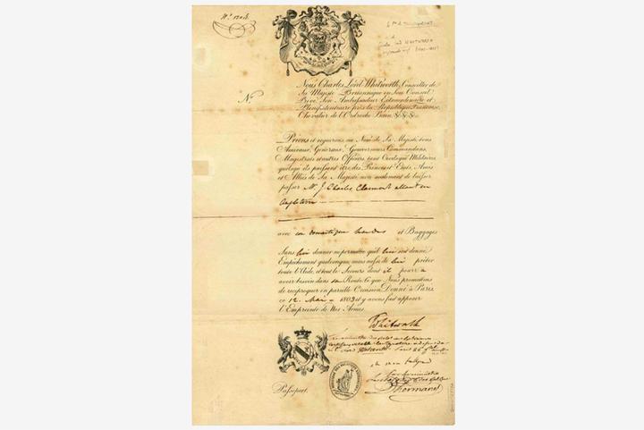 Британский паспорт 1803года, подписанный ...