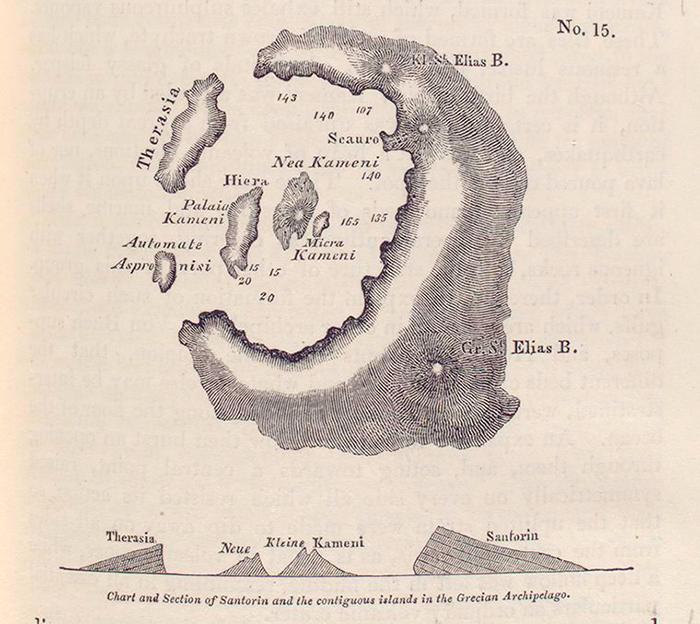Морская карта Санторини иприлежащих остро...