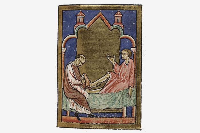 Исцеление обувью, принадлежащей святому Кутберт...