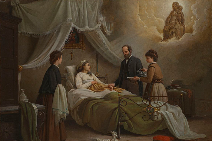 R.Pistoni. A woman in bed in a sick-room, atten...