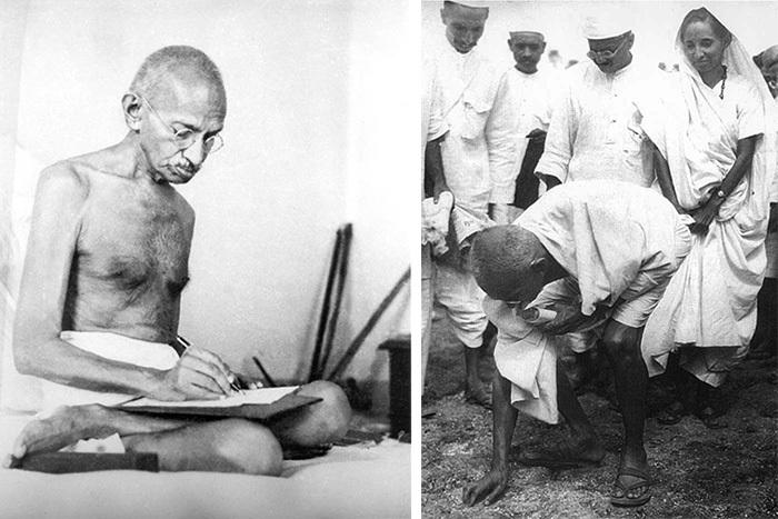 Слева: Ганди вдоме семьи Бирла (теперь Му...