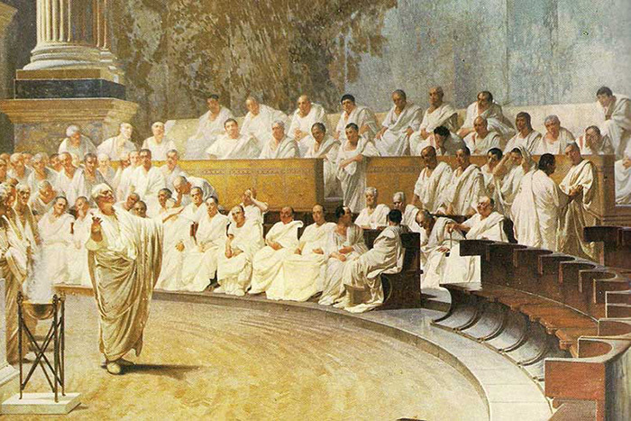 Чезаре Маччари. Цицерон обличает Катилину. 1899...