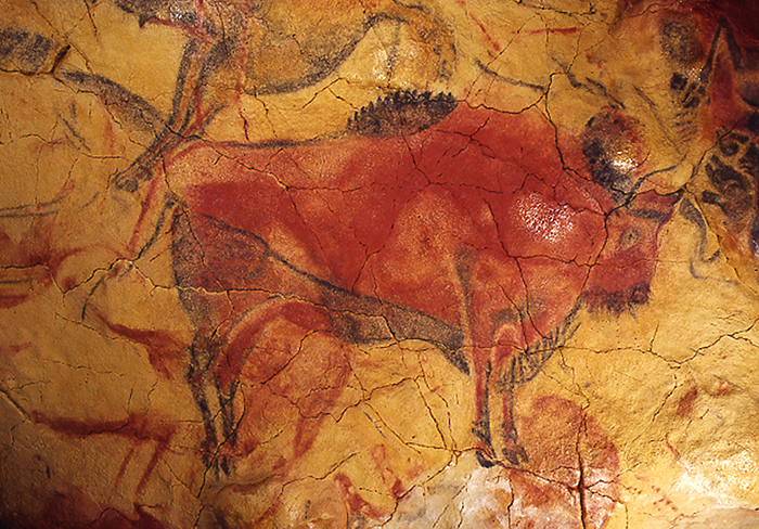 Наскальный рисунок сизображением бизона...