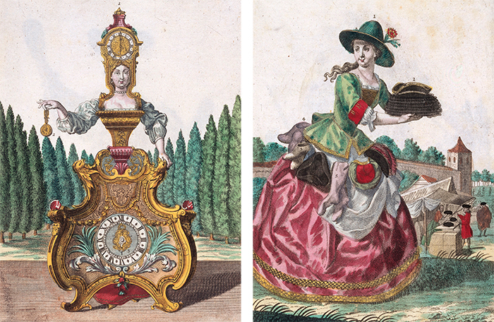 Слева: часовщица. Справа: модистка. Мартин Энге...