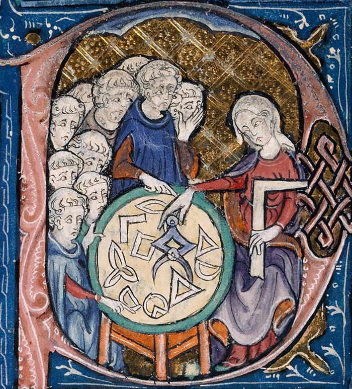 Женщина преподает геометрию. Начало XIV века