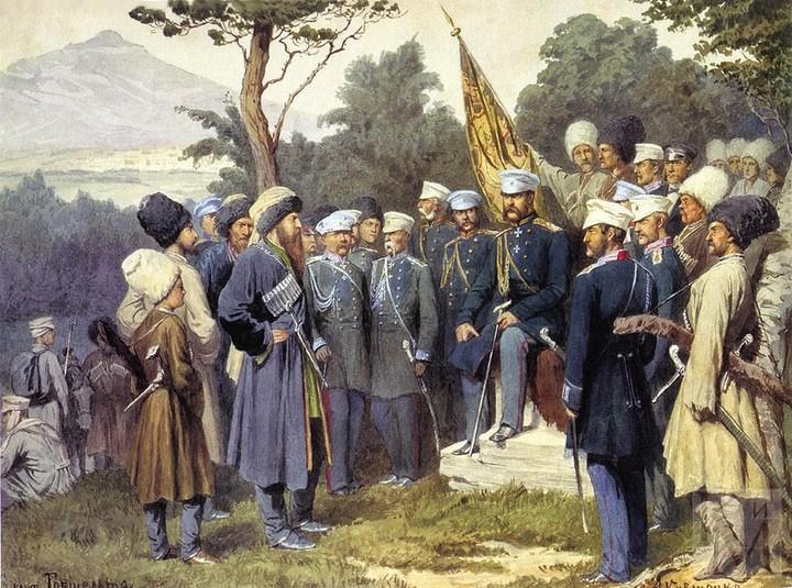 Сдача Шамиля князю Барятинскому 25 августа 1859...