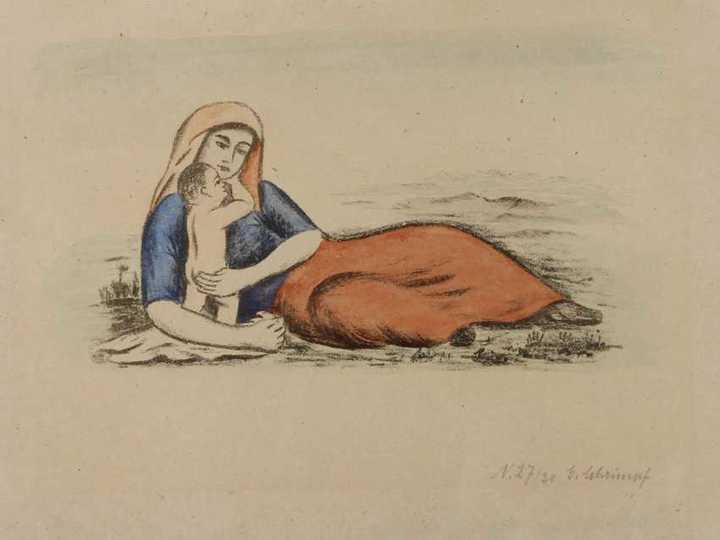 Лежащая женщина сребенком. Георг Шримпф. ...