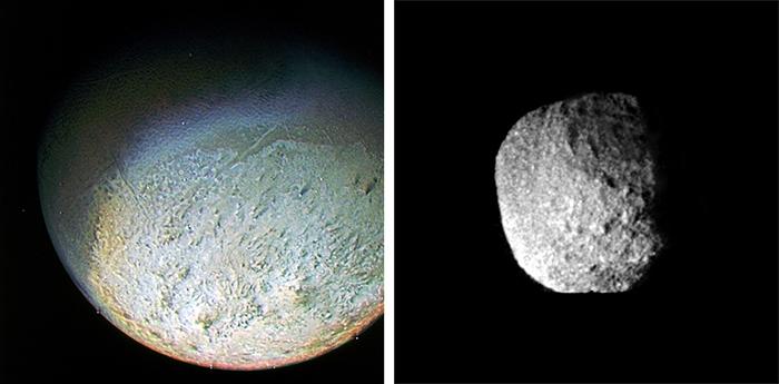 Слева: Тритон. Справа: Протей. Источник: NASA /...