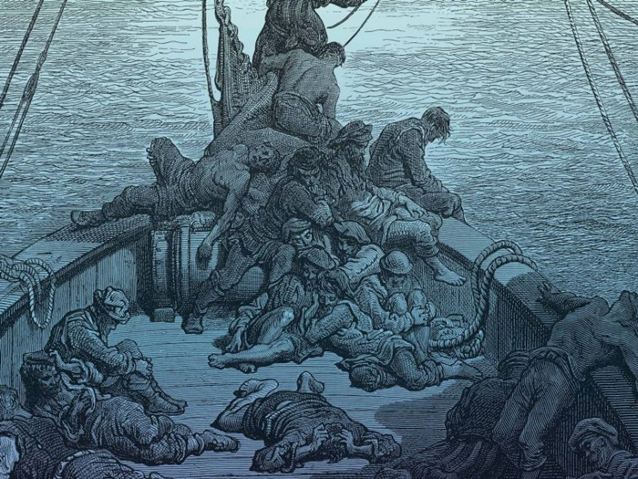 A wood-engraved illustration of shipboard death...