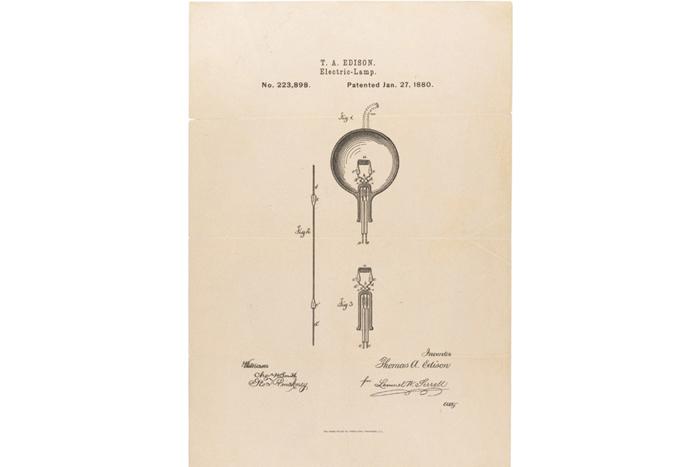 Заявка Томаса Эдисона напатент лампочки н...