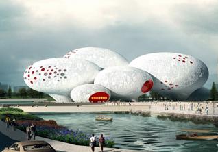 Новый музей в Ханчжоу: *комиксы и анимация в здании из 8 гигантских пузырей*