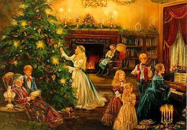 Картинки, рождественские семейные открытки