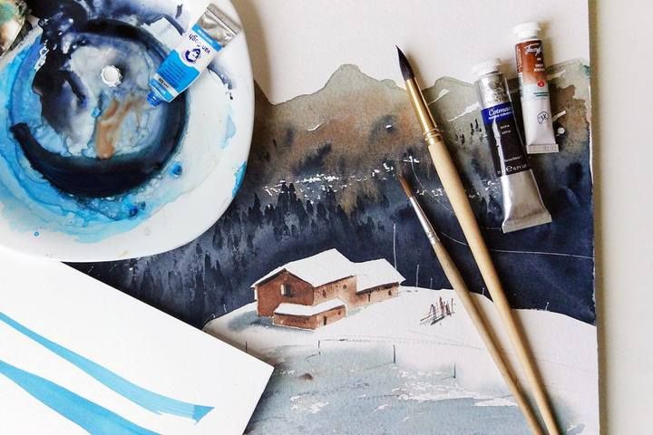Акварель, мастер-класс: «Путешествие в горы»