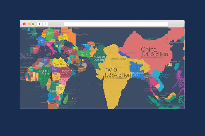 Находка T&P: карта, где территория стран соответствует числу жителей